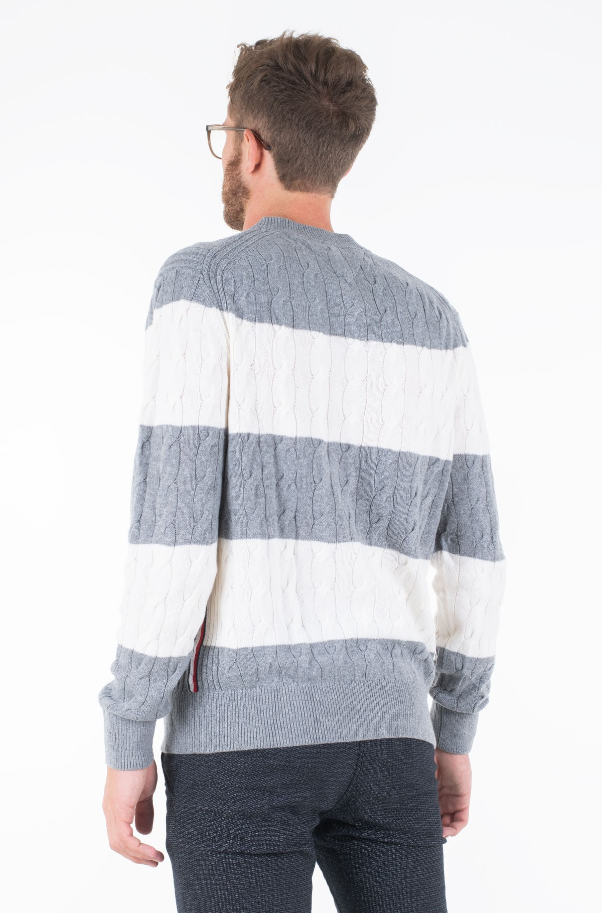 Sweater BLOCK STRIPED CABLE SWEATER-full-2