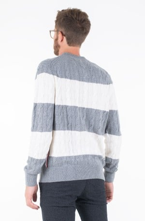 Sweater BLOCK STRIPED CABLE SWEATER-2
