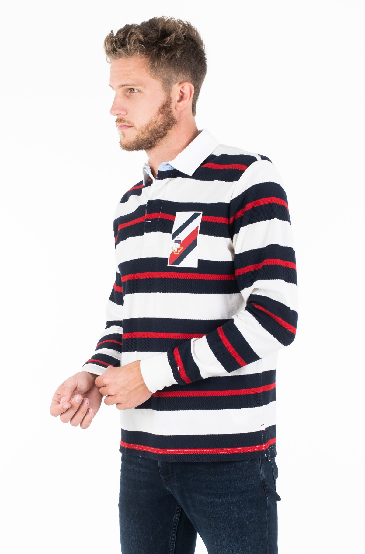 Long sleeved t-shirt TEXTURE MULTI COLOR STRIPE RUGBY-full-1
