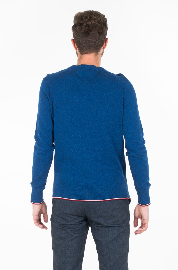 TIPPED MOULINE CREW NECK-hover