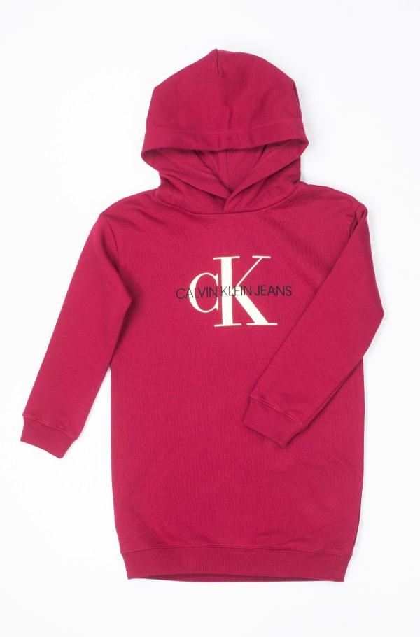 HOODED MONOGRAM SWEATSHIRT DRESS