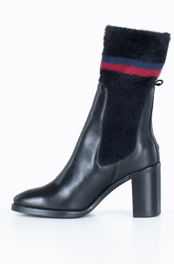 COSY HIGH HEEL LEATHER BOOTIE-hover