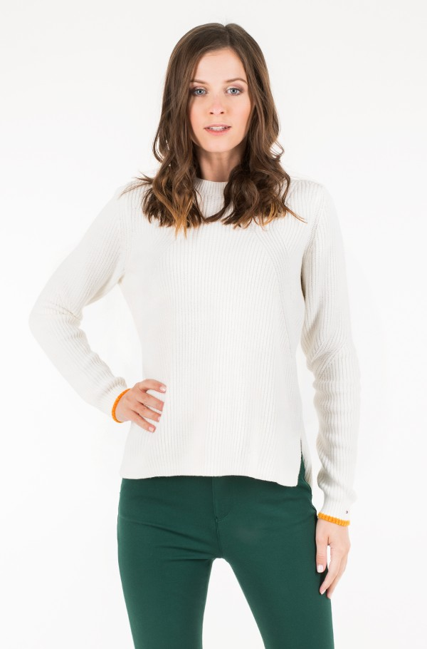 TJW SIDE SLIT CREW SWEATER-hover