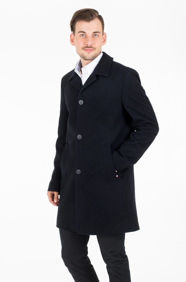 FAKE SOLID WOOL BLEND OVERCOAT
