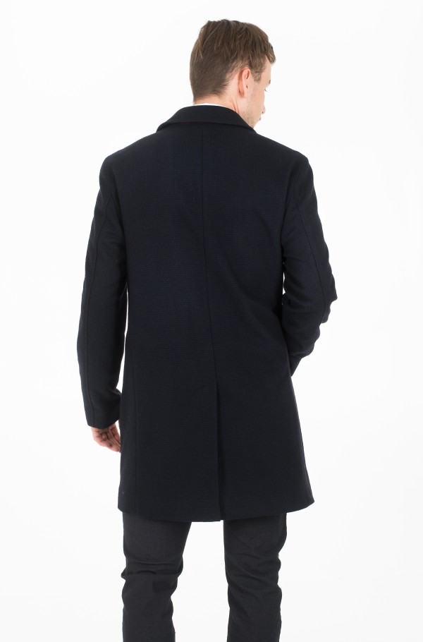 FAKE SOLID WOOL BLEND OVERCOAT-hover