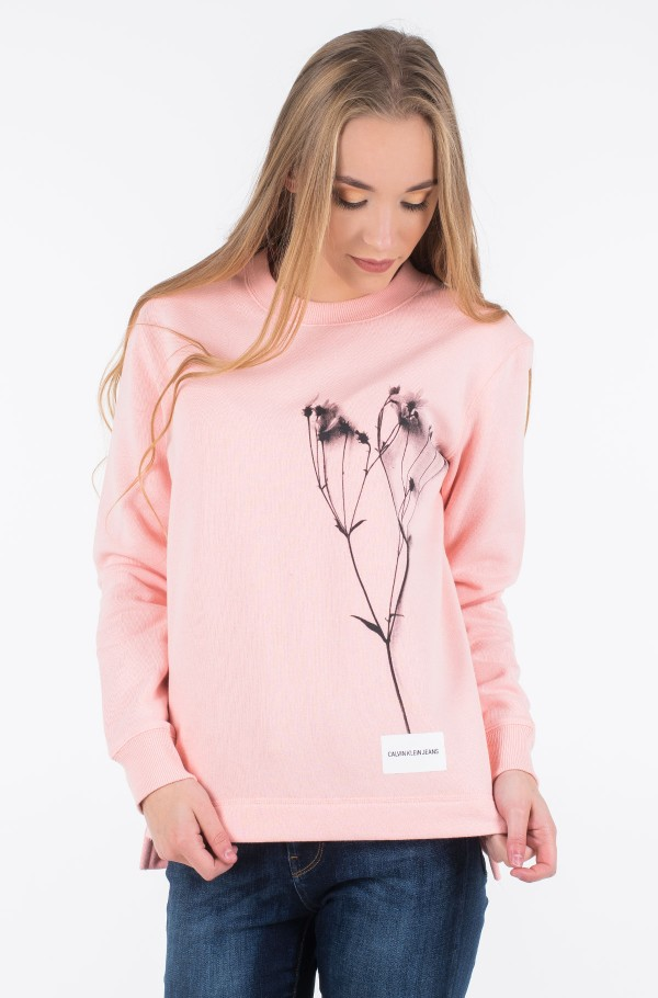 FLOWER GRAPHIC REL CREW NECK