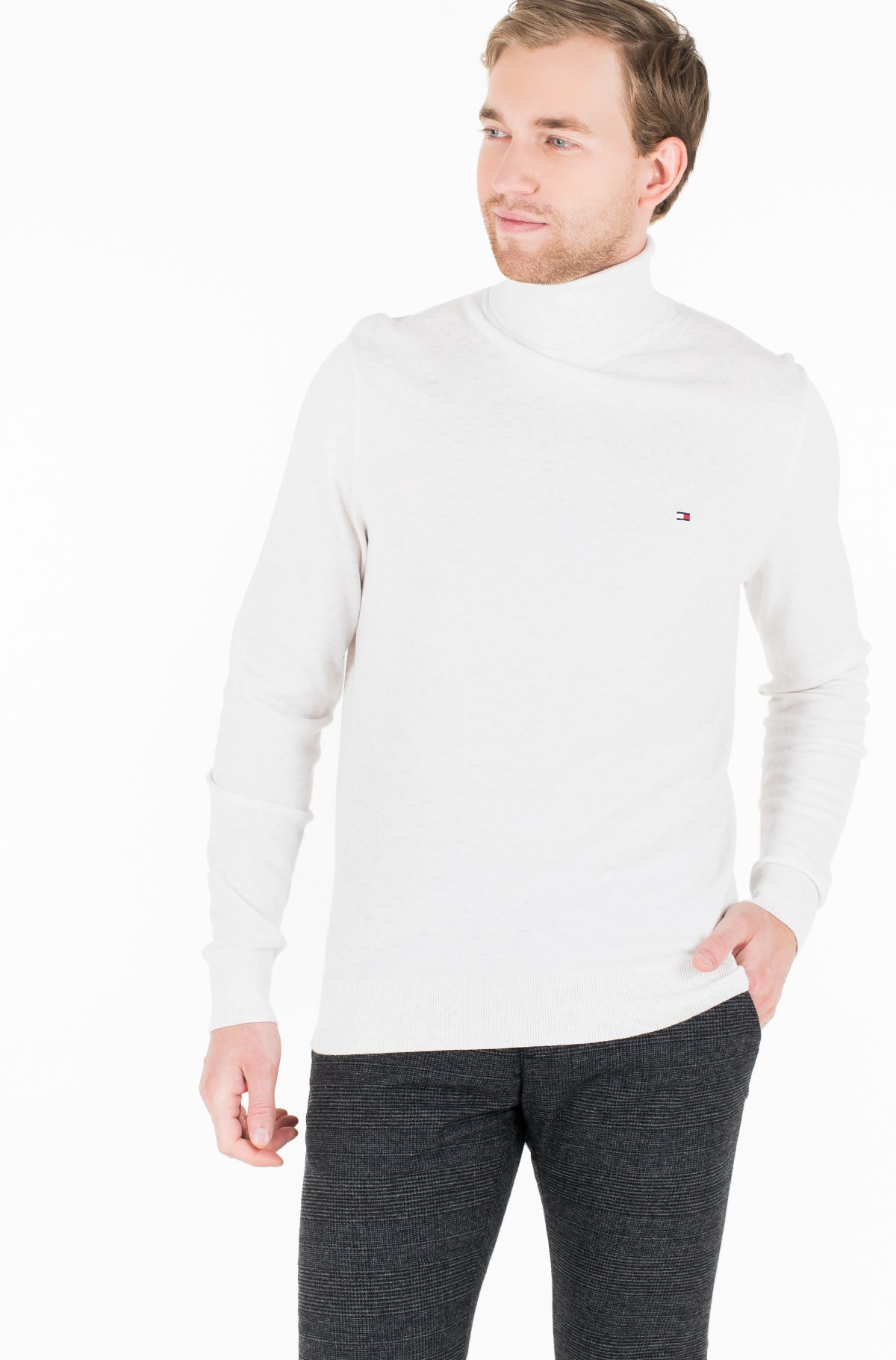 Džemperis ORGANIC COTTON SILK ROLL NECK-full-1