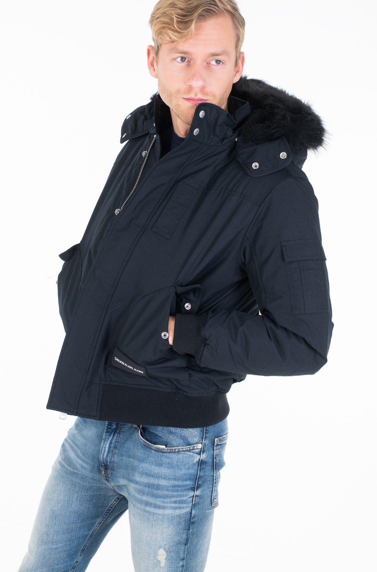 Jope FUR TRIMMED HOODED DOWN BOMBER-full-1