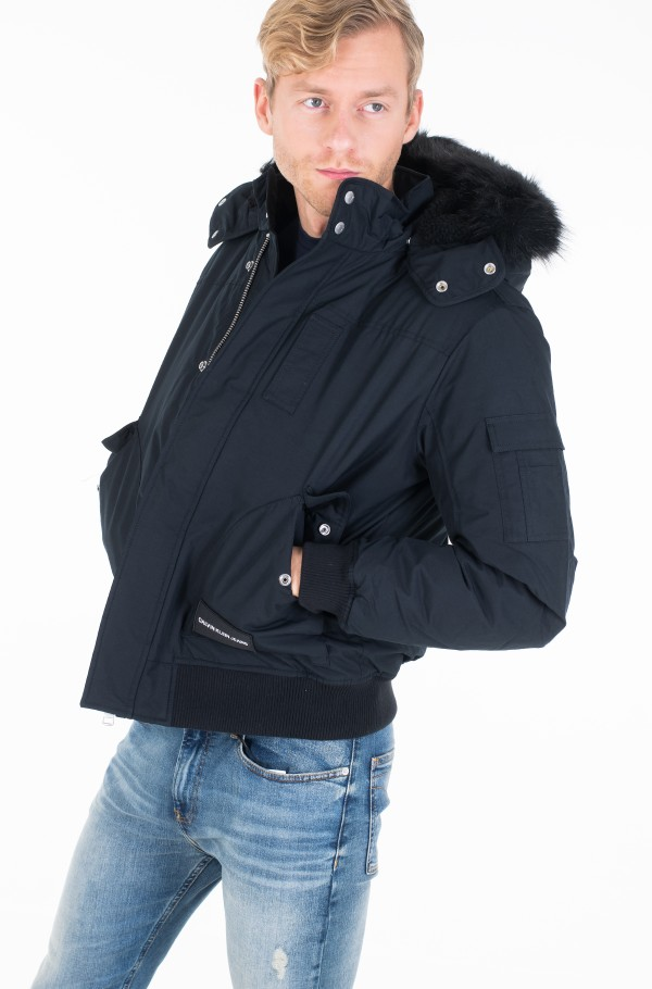 FUR TRIMMED HOODED DOWN BOMBER