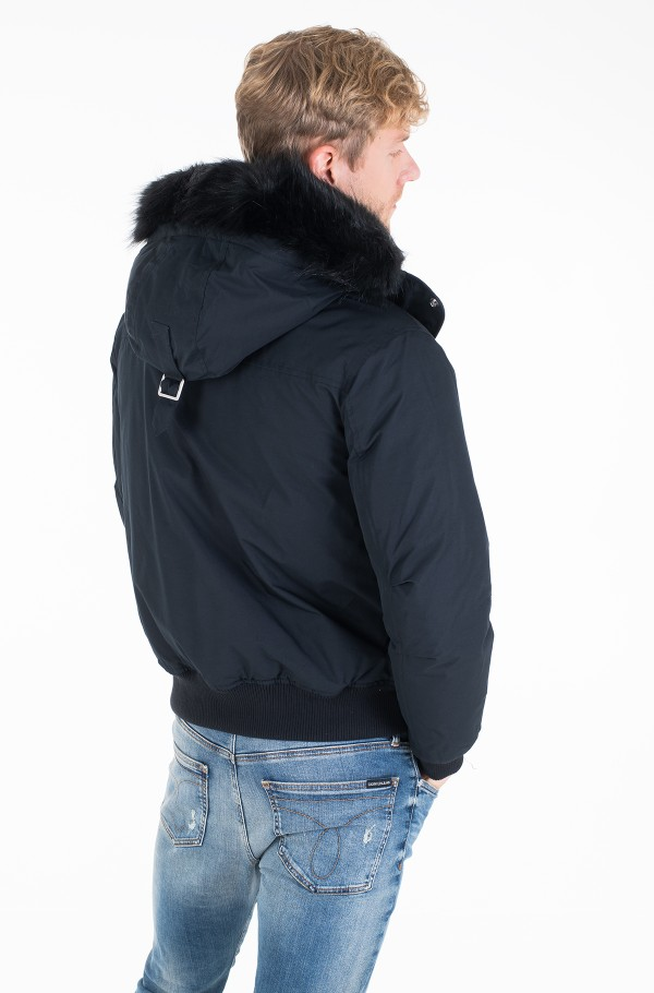 FUR TRIMMED HOODED DOWN BOMBER-hover