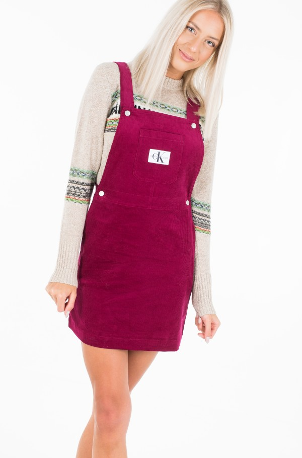 MINI CORDUROY DUNGAREE DRESS-hover