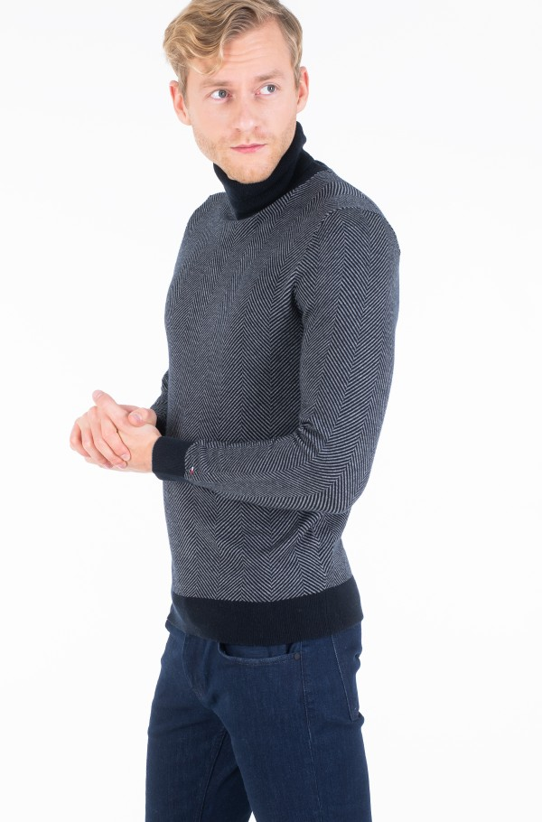 HERRINGBONE ROLL NECK