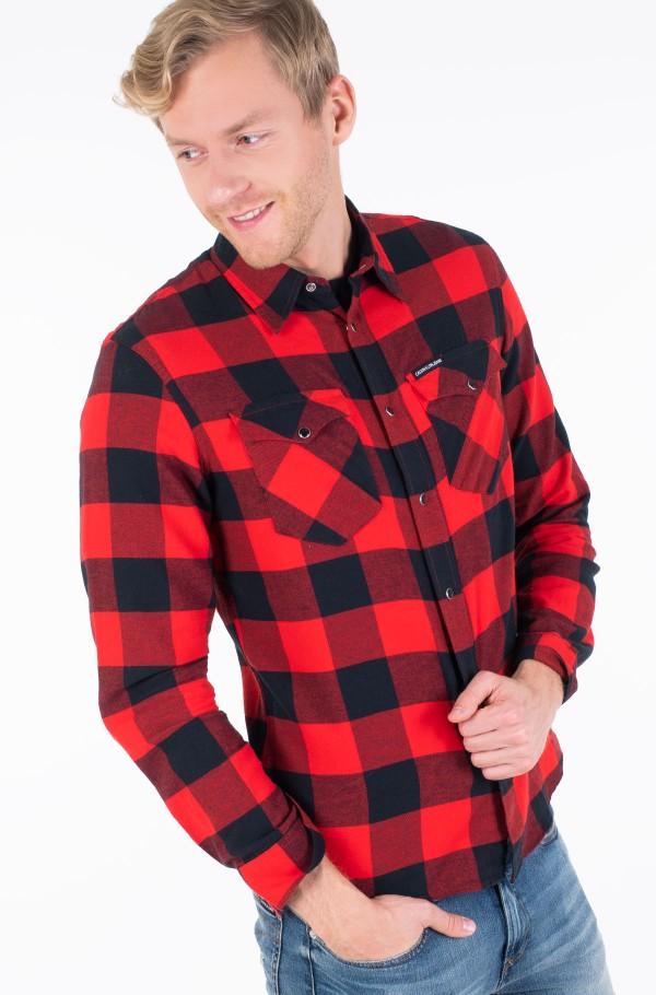 FLANNEL WESTERN  CHECK REG SHIRT-hover