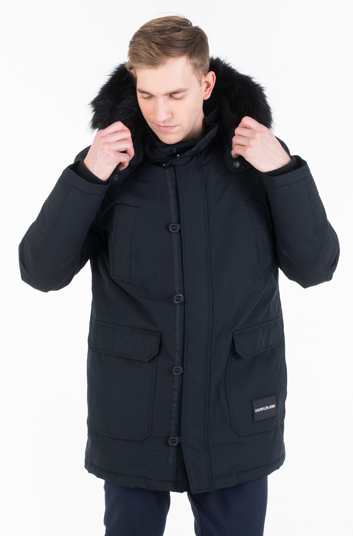Parka FUR TRIMMED HOODED DOWN PARKA J30J313108-full-1