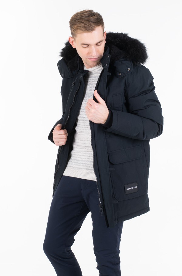 FUR TRIMMED HOODED DOWN PARKA J30J313108-hover