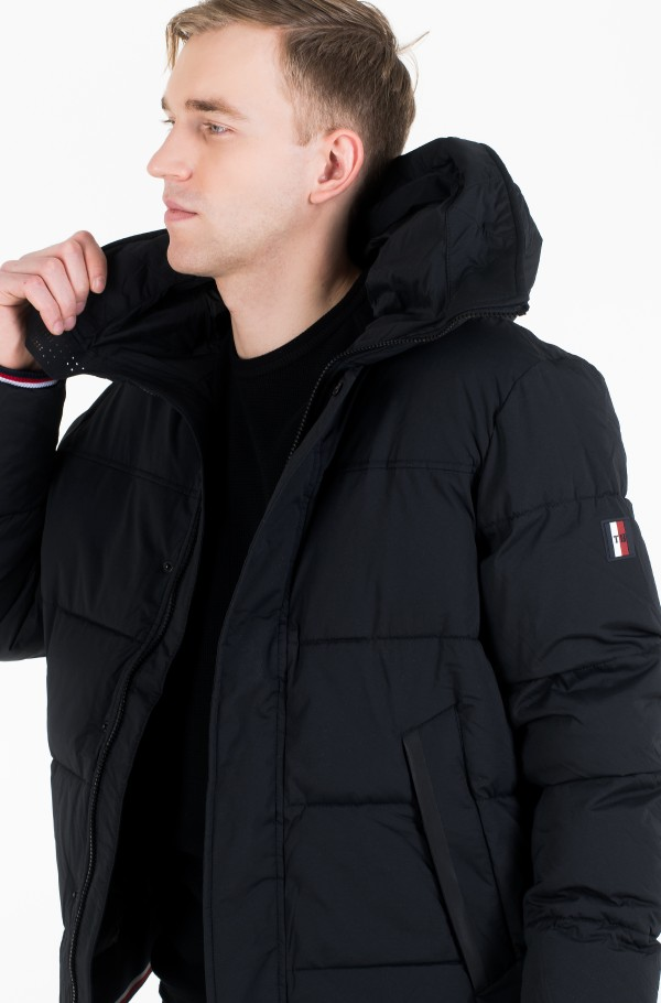 STRETCH NYLON HOODED BOMBER