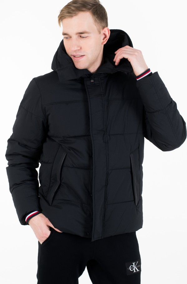 STRETCH NYLON HOODED BOMBER-hover