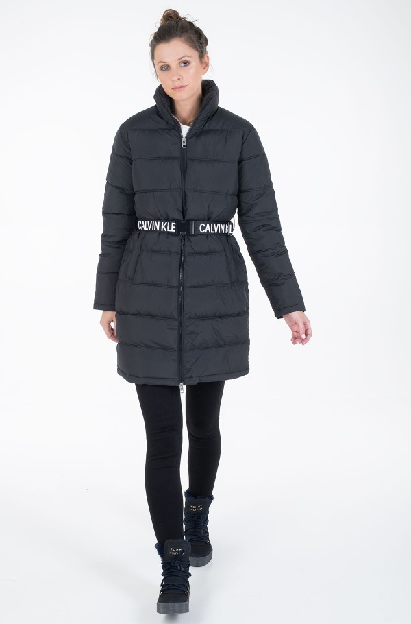 LONG PUFFER WITH WAIST BELT