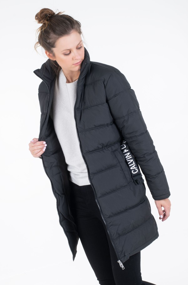 LONG PUFFER WITH WAIST BELT-hover