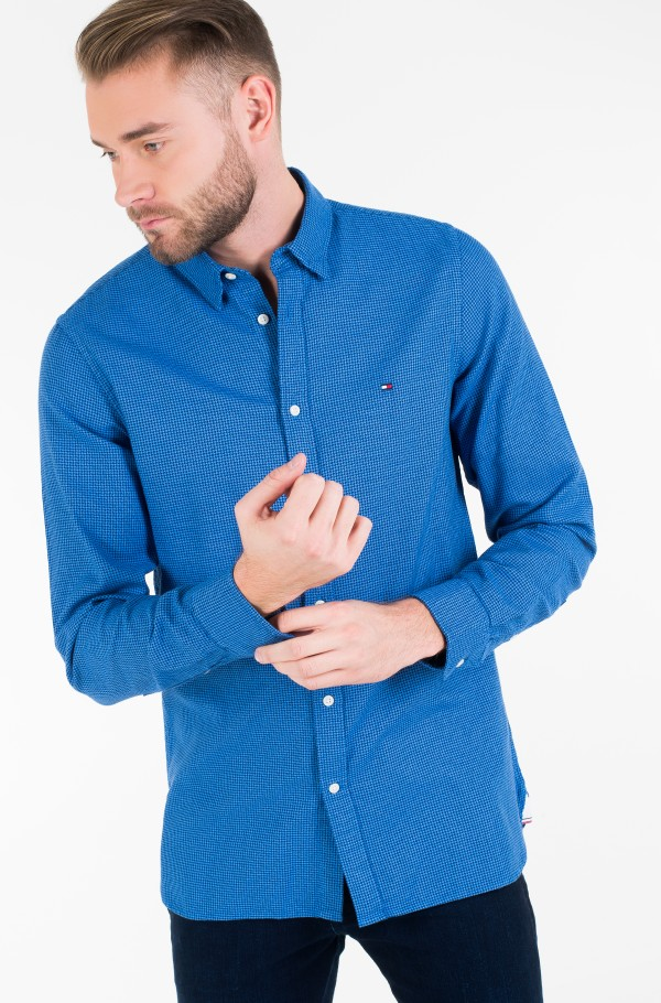 SLIM TEXTURED HOUNDSTOOTH SHIRT-hover