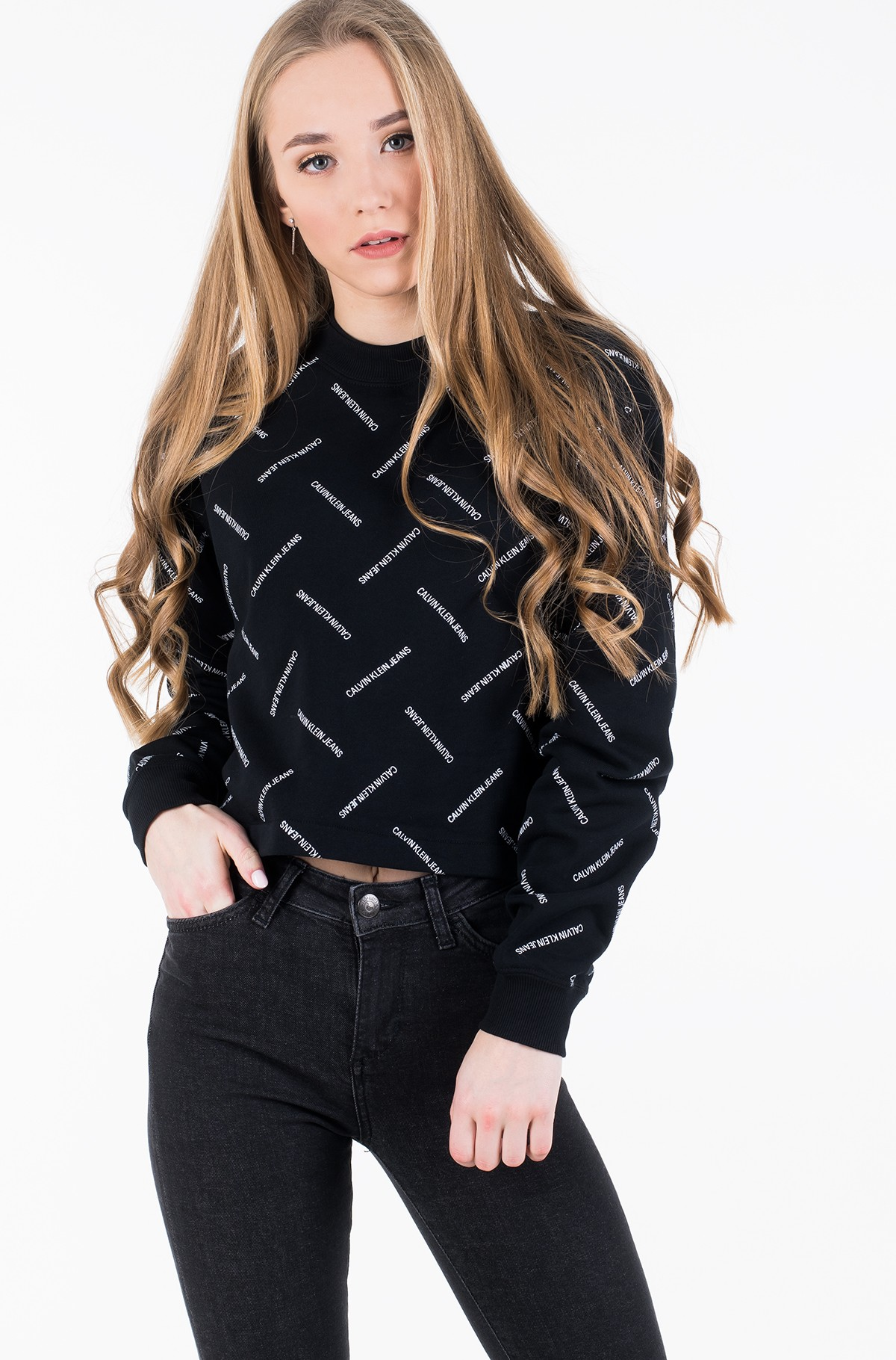 Džemperis DIAGONAL LOGO CROPPED CREW NECK-full-2