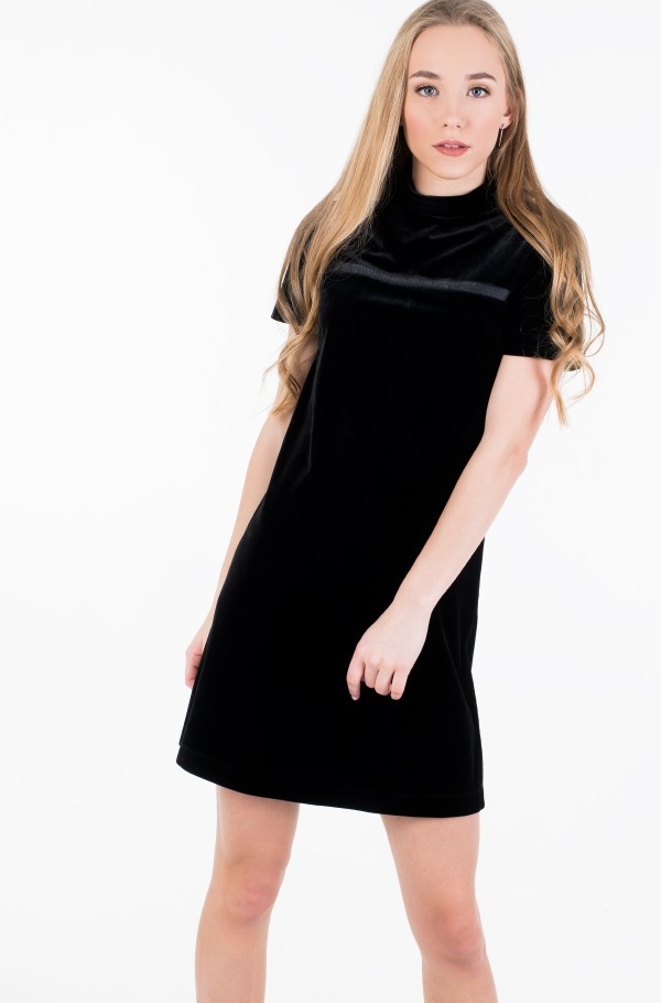 VELVET MOCK NECK DRESS-hover