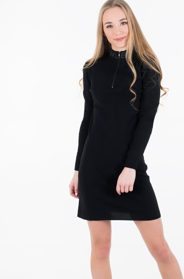 NECK LOGO FITTED SWEATER DRESS