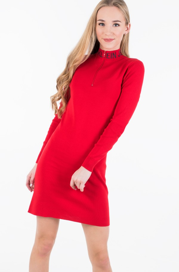 NECK LOGO FITTED SWEATER DRESS-hover