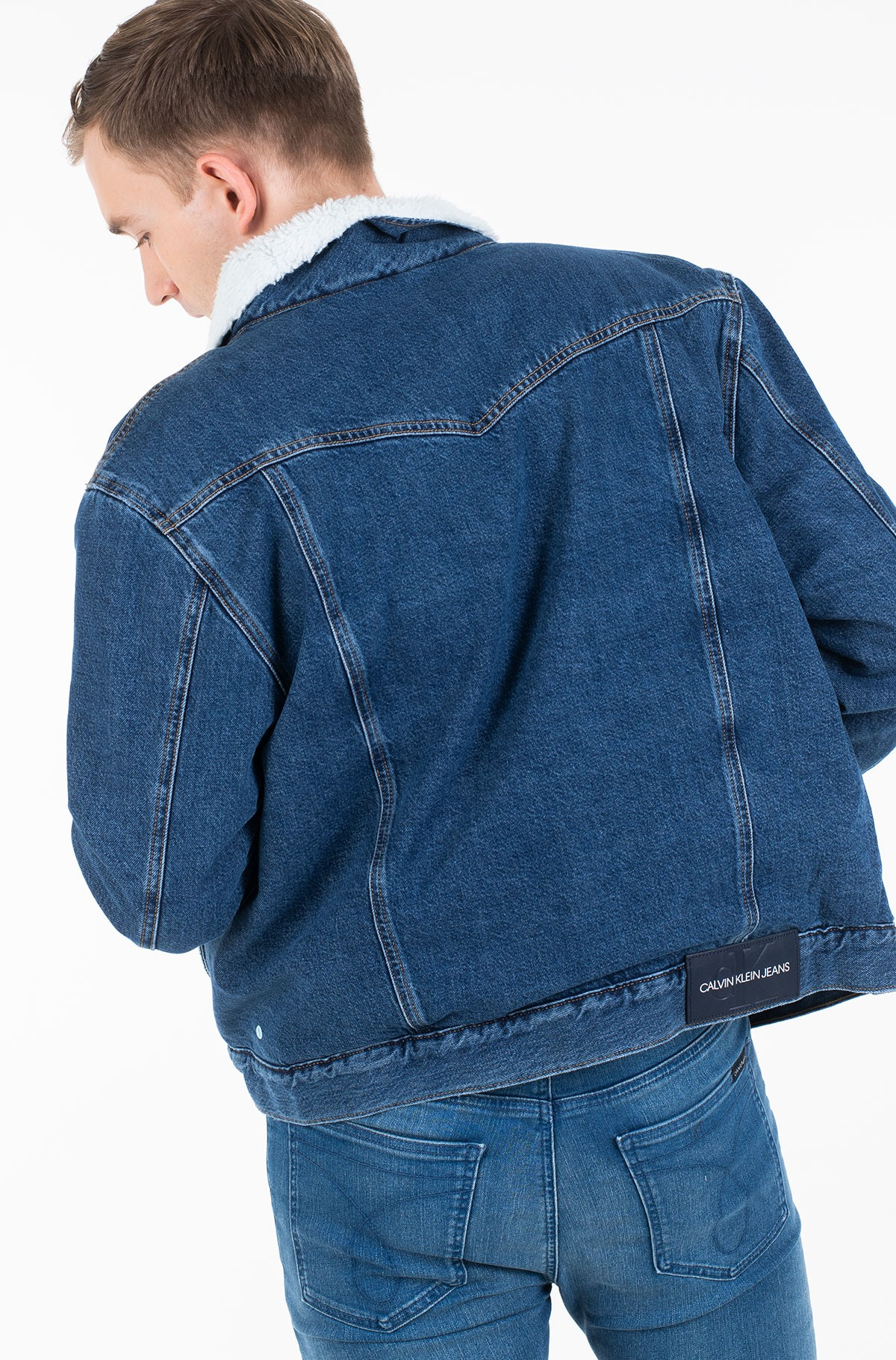 Džinsinė striukė su pamušalu SHERPA FOUNDATION DENIM JACKET	-full-3