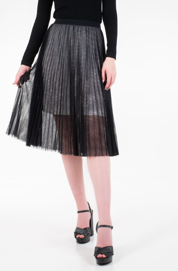 PLEATED MESH DOUBLE LAYER SKIRT