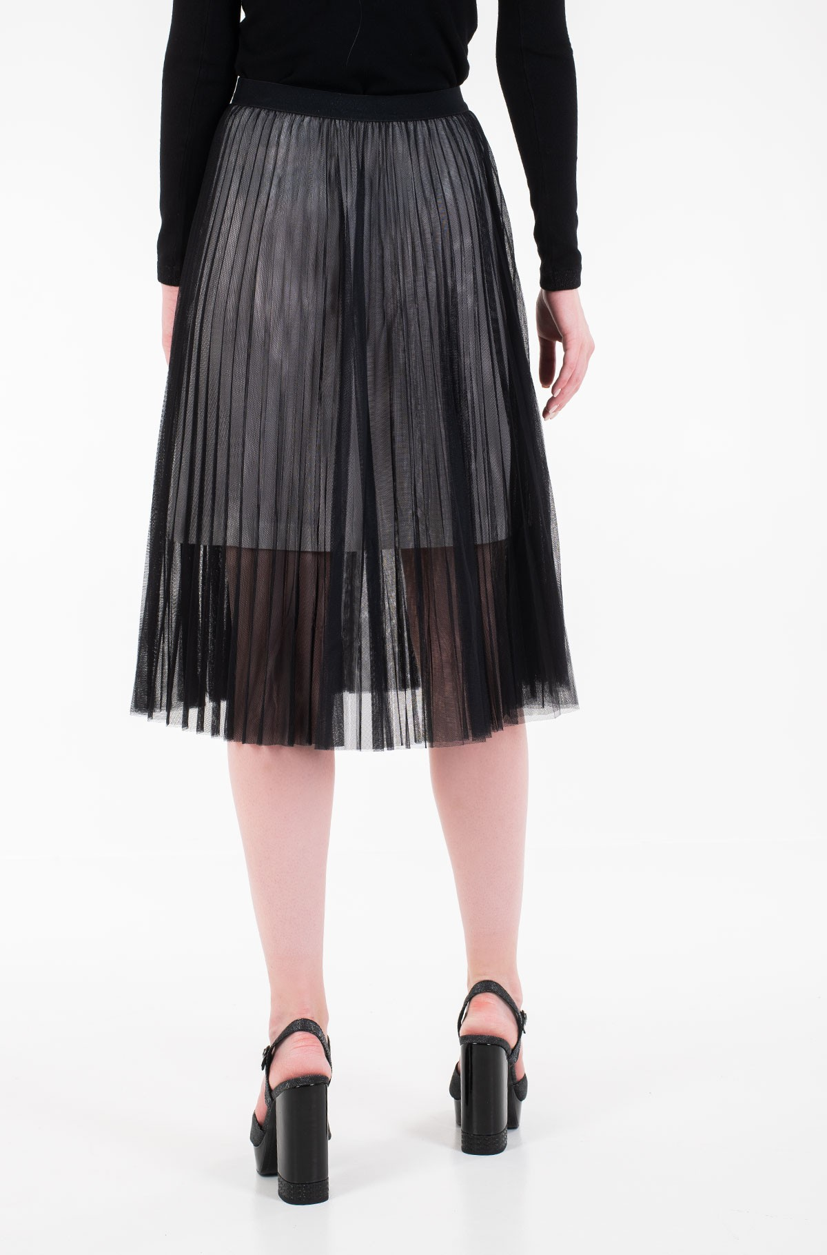 Seelik PLEATED MESH DOUBLE LAYER SKIRT-full-3