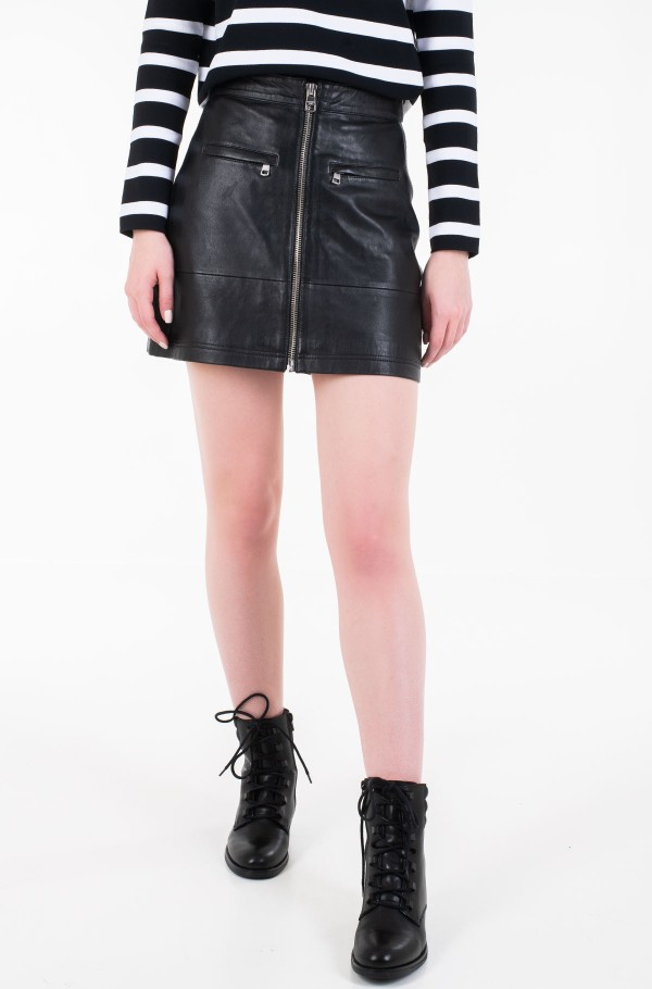 LEATHER MOTO SKIRT-hover
