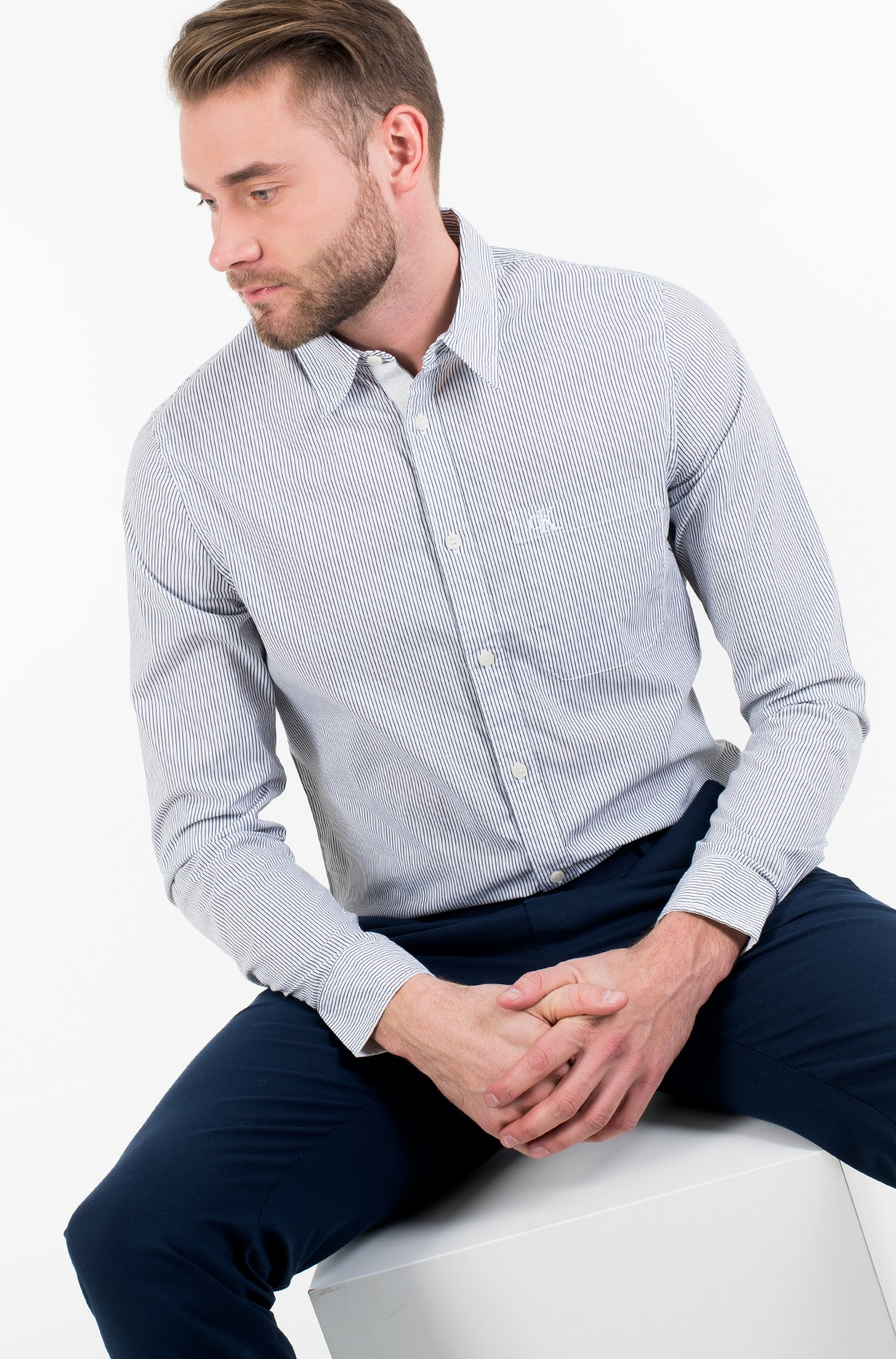 Triiksärk SLIM STRETCH STRIPE PKT SHIRT-full-1