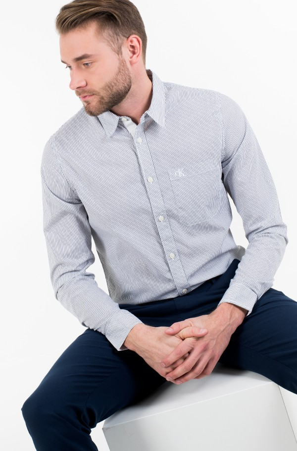 SLIM  STRETCH STRIPE PKT SHIRT