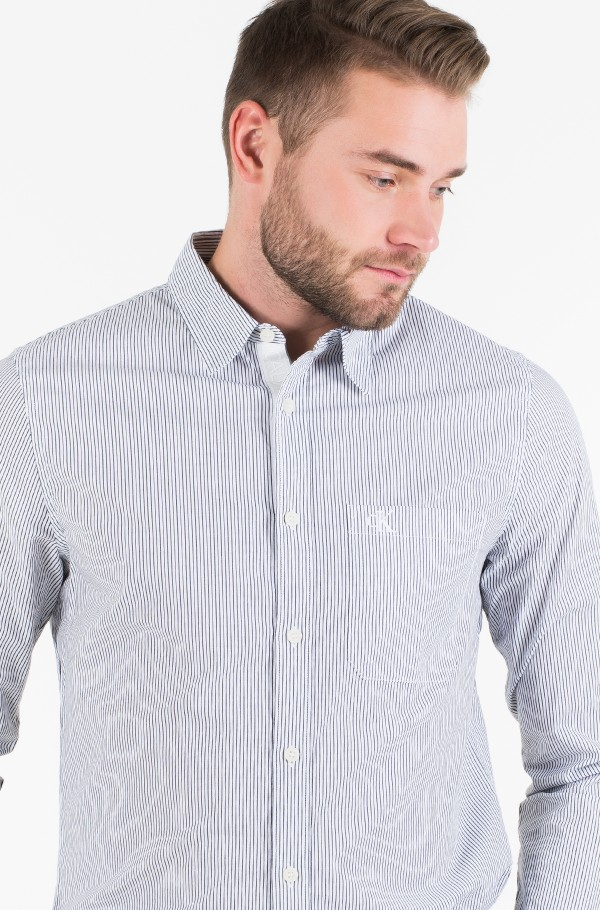 SLIM  STRETCH STRIPE PKT SHIRT-hover
