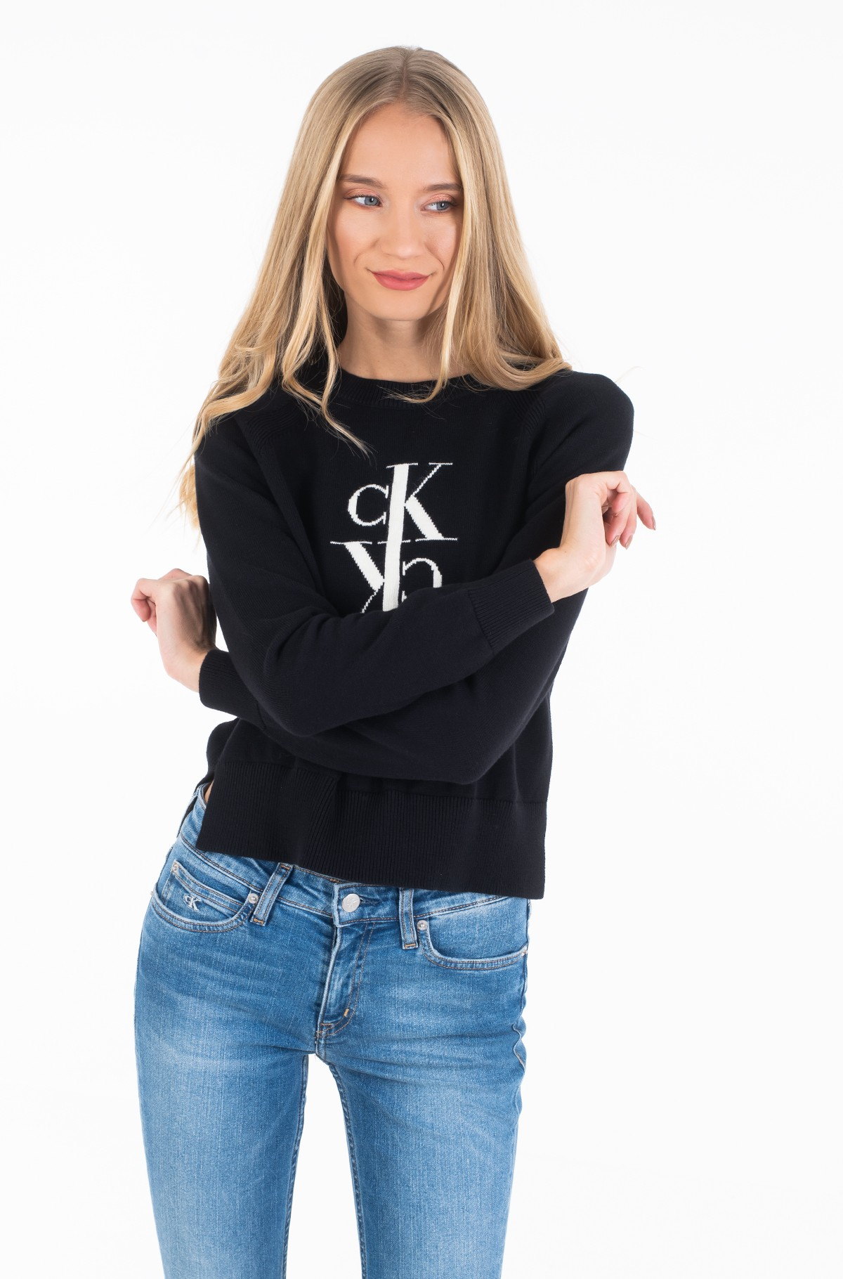 Megztinis MIRRORED MONOGRAM COTTON SWEATER	-full-1