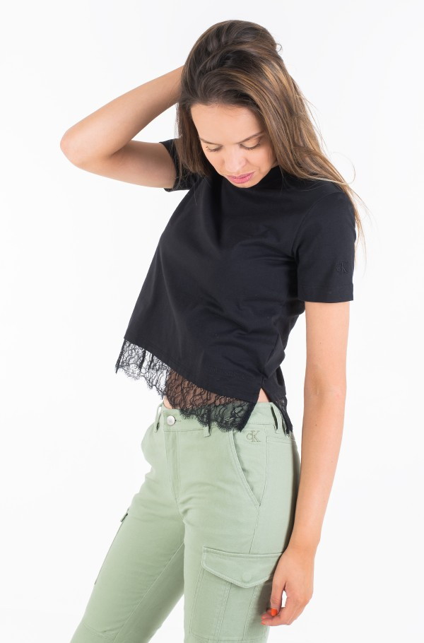 STRAIGHT TEE WITH LACE HEM