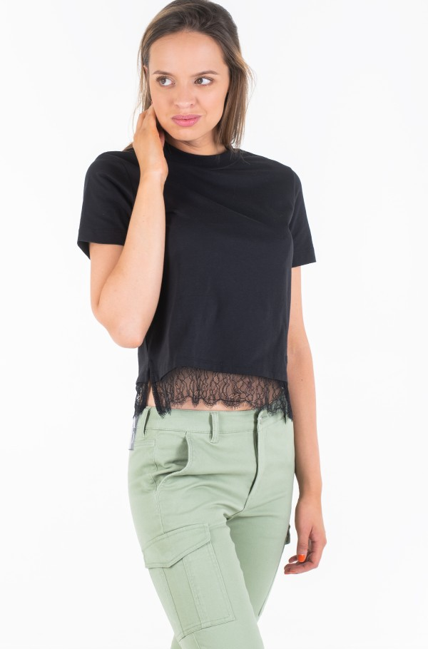 STRAIGHT TEE WITH LACE HEM-hover