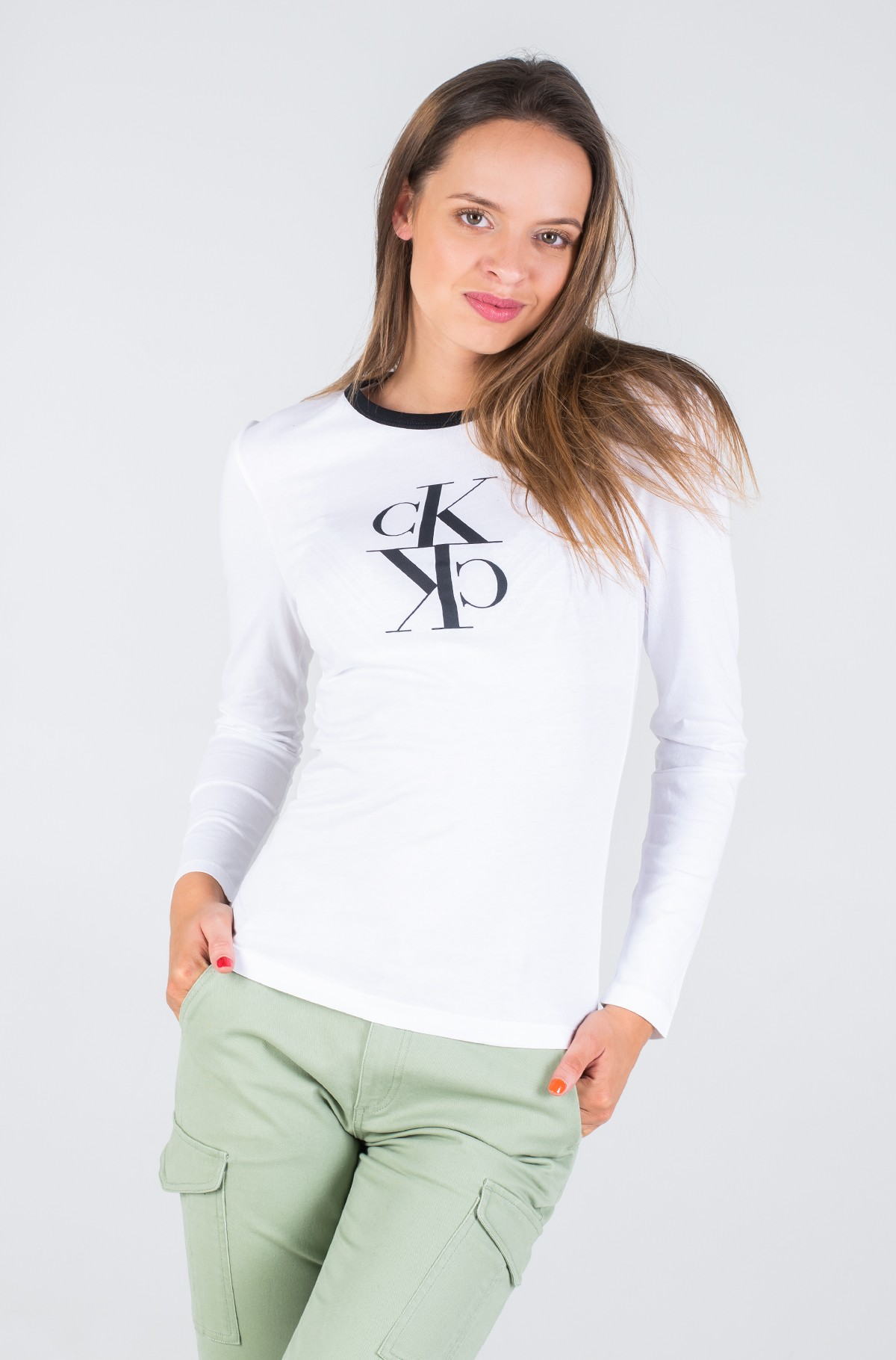 Long sleeved t-shirt MIRRORED MONOGRAM LS RINGER TEE-full-1