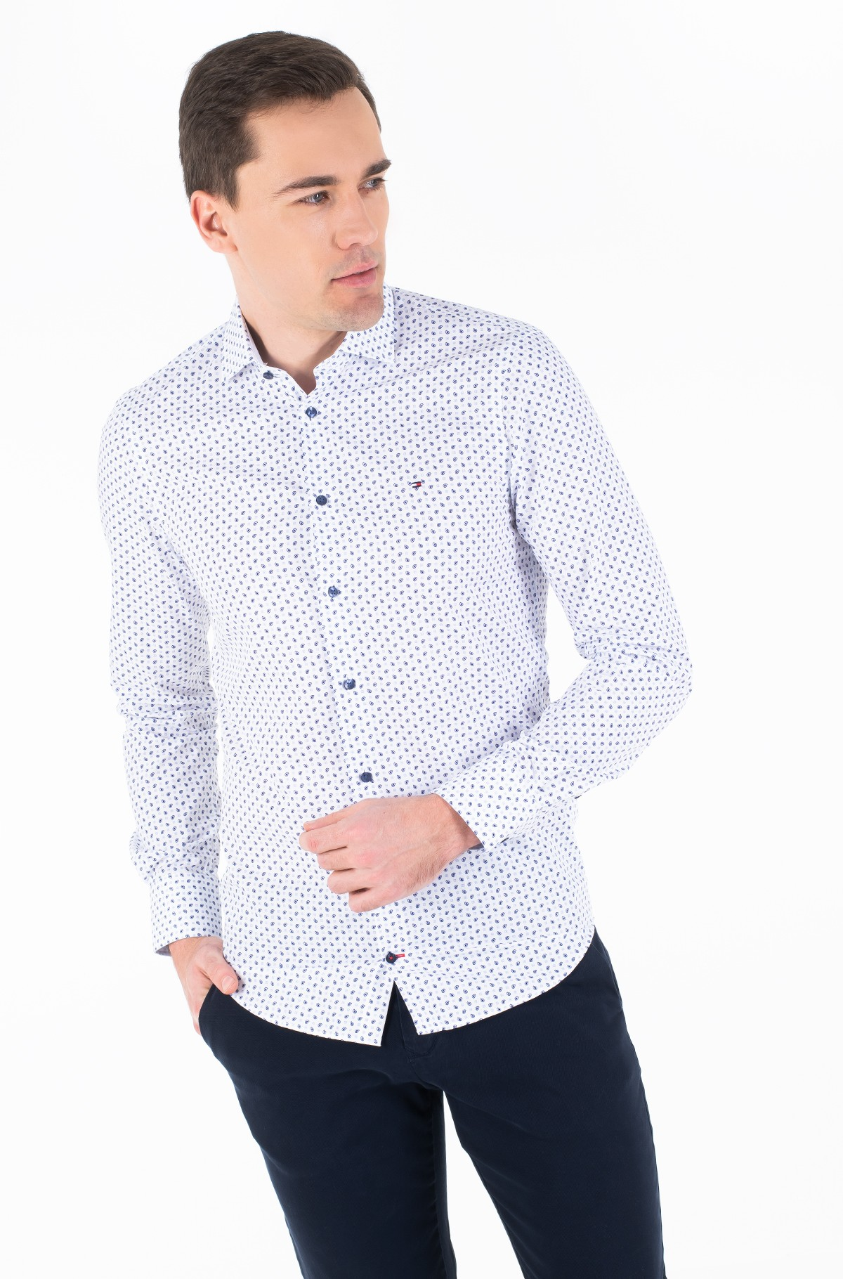 Marškiniai MICRO PRINT CLASSIC SLIM SHIRT-full-2