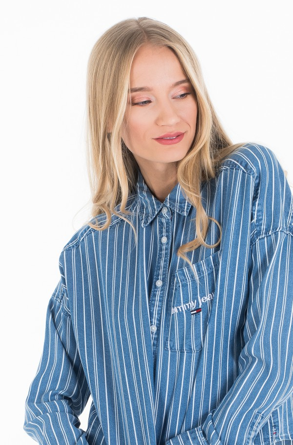 TJW CROPPED BOXY STRIPE SHIRT-hover