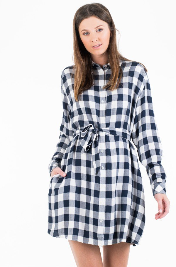 TJW BELTED CHECK SHIRT DRESS