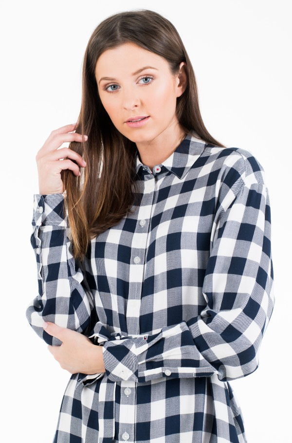 TJW BELTED CHECK SHIRT DRESS-hover
