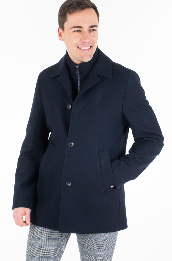 WOOL BLEND COAT WITH BIB-hover