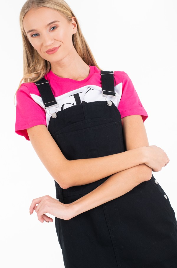 COTTON TWILL DUNGAREE DRESS-hover