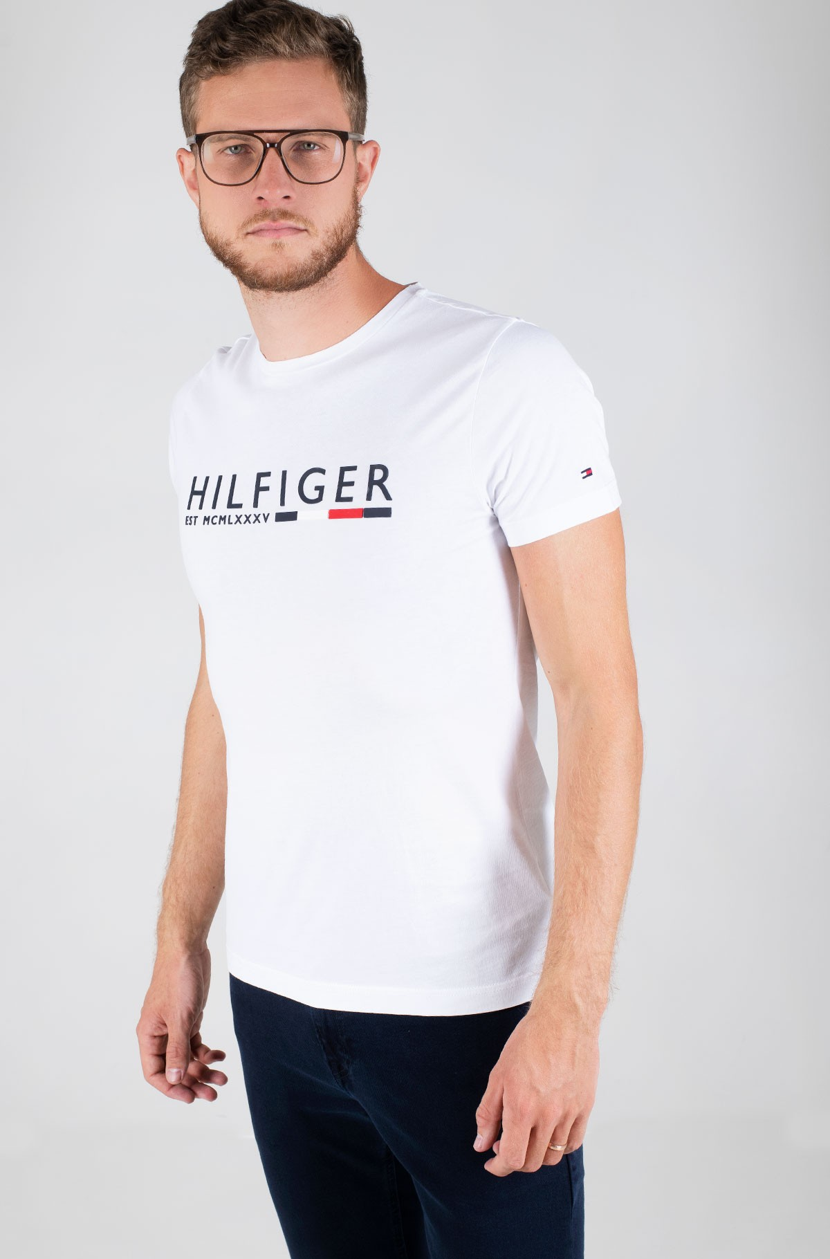 T-shirt CORP HILFIGER STRIPE TEE-full-1