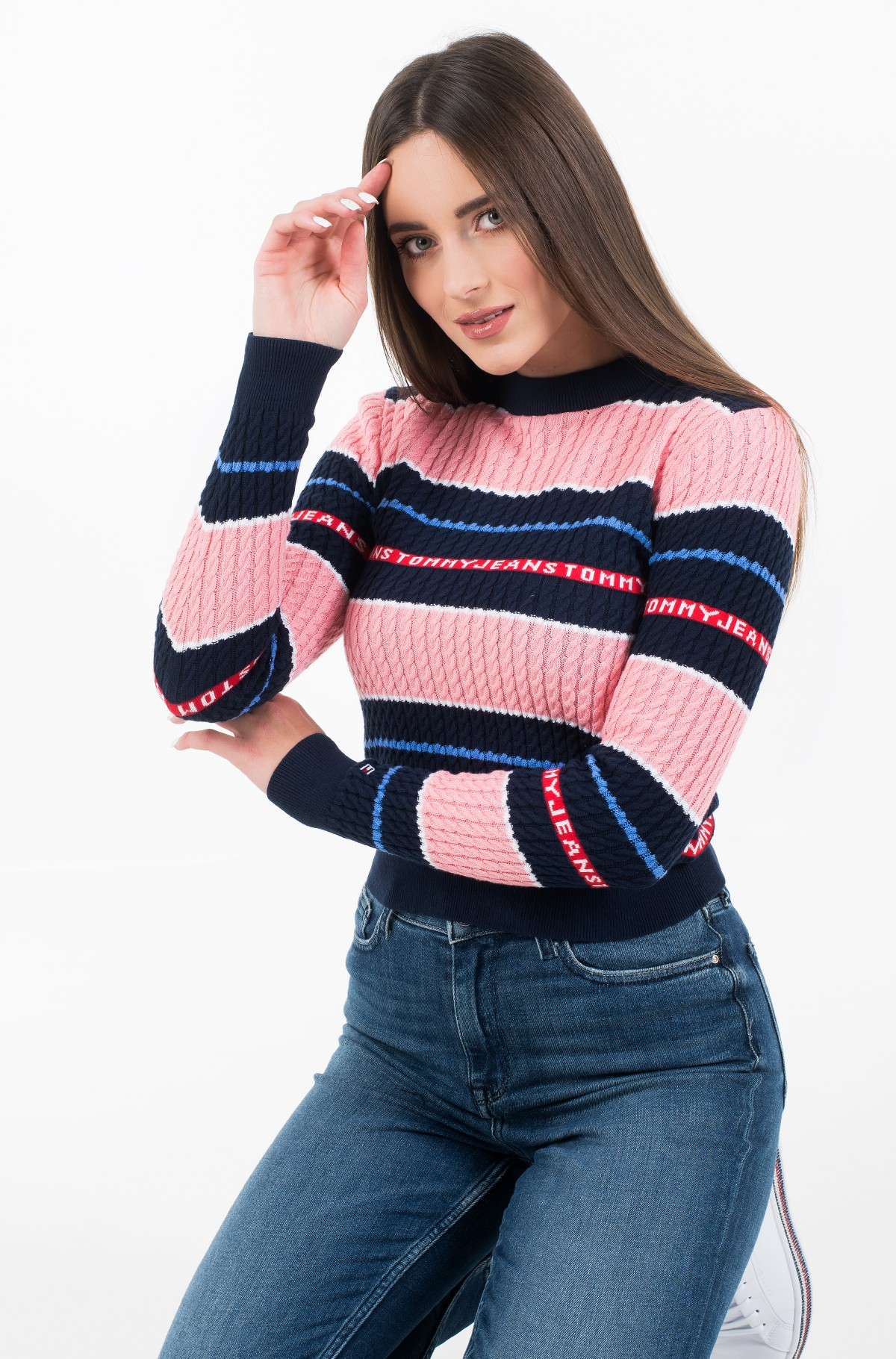 Sweater TJW LOGO STRIPE CABLE SWEATER-full-1