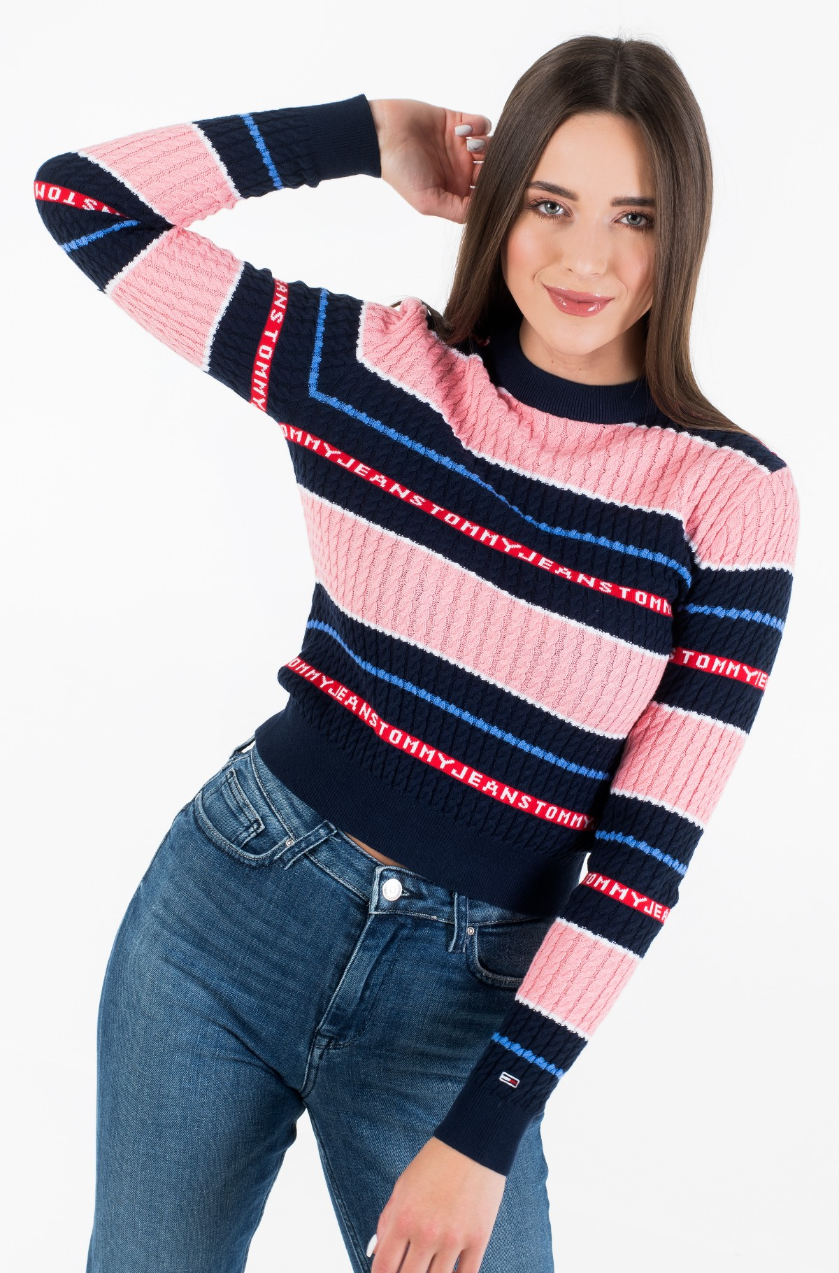 Sweater TJW LOGO STRIPE CABLE SWEATER-full-3