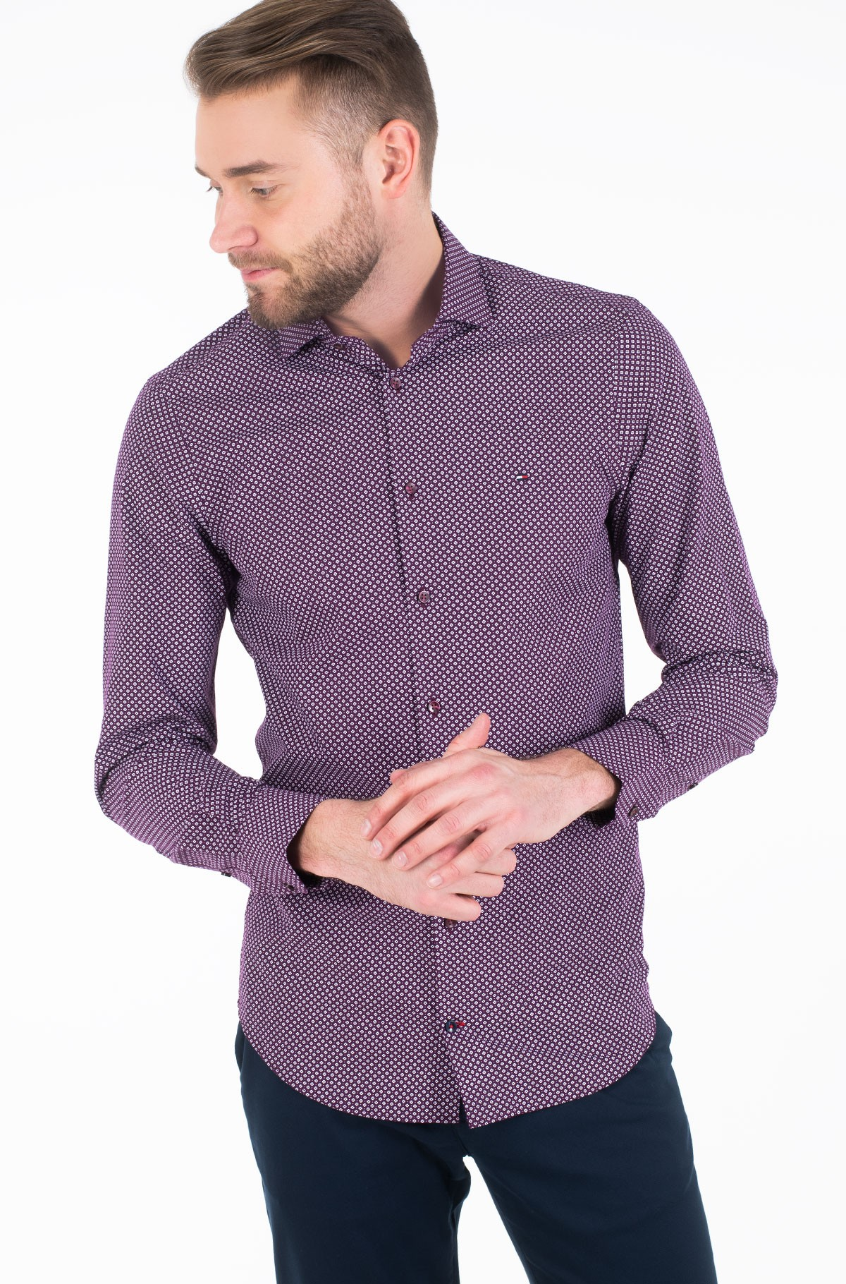 Marškiniai MICRO PRINT CLASSIC SLIM SHIRT-full-1