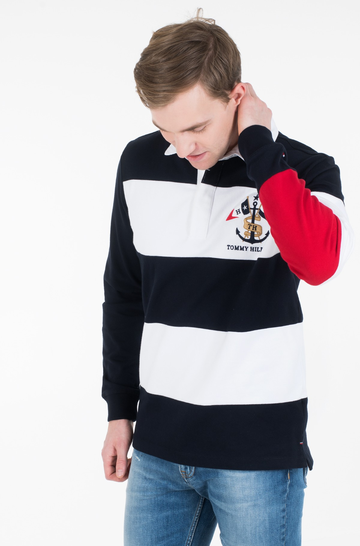 Long sleeved polo BLOCK STRIPE RUGBY-full-2